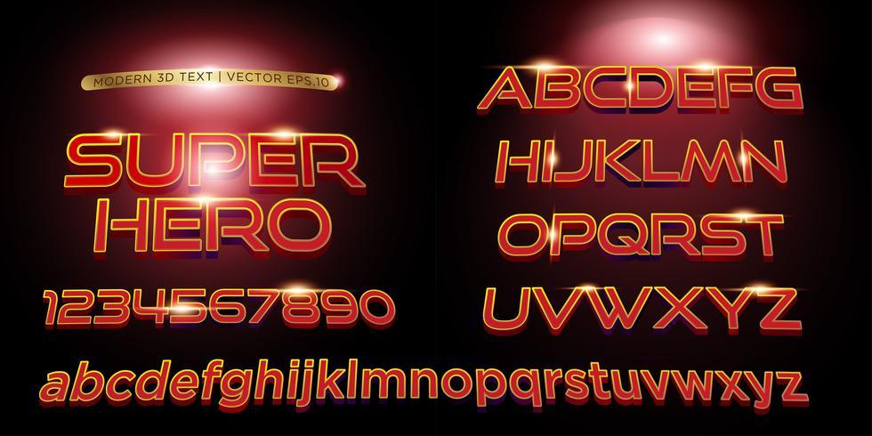 3D Superhero gestileerde belettering tekst, lettertype en alfabetisch vector