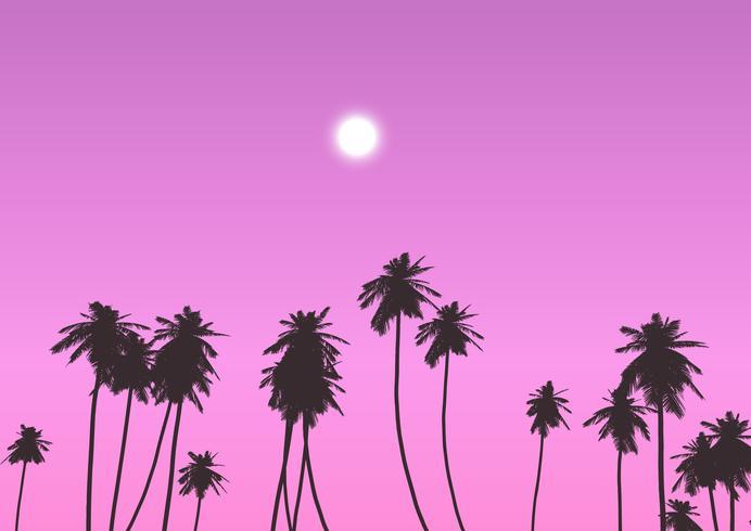 Palmen tegen zonsonderganghemel vector