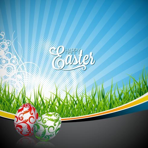 Vectorvakantie van Pasen Illustratie met geschilderde eieren op de lenteachtergrond. vector