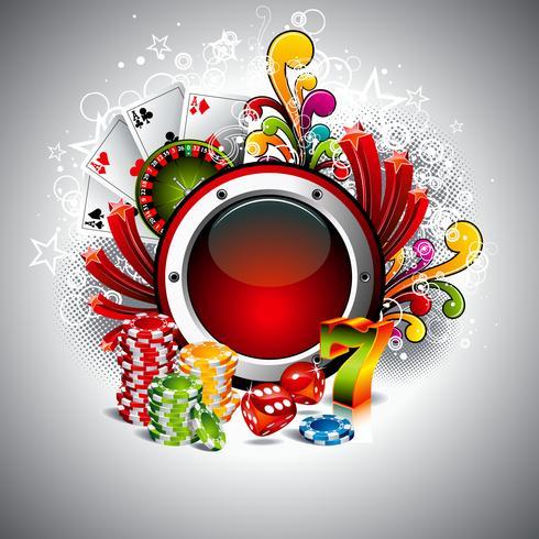 Vectorillustratie op een casinothema met ruimte voor uw tekst en gokkende elementen vector