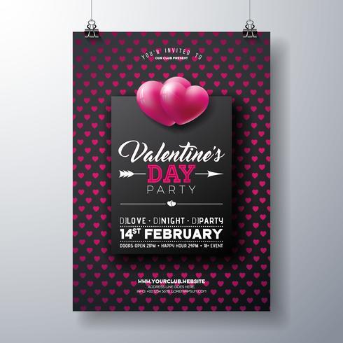 Valentijnsdag partij Flyer met rood hart patroon vector