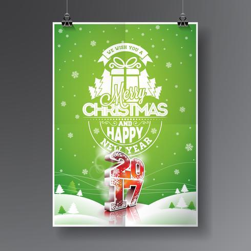 Vrolijke Kerstmis en Gelukkige Nieuwjaar 2017 illustratie vector