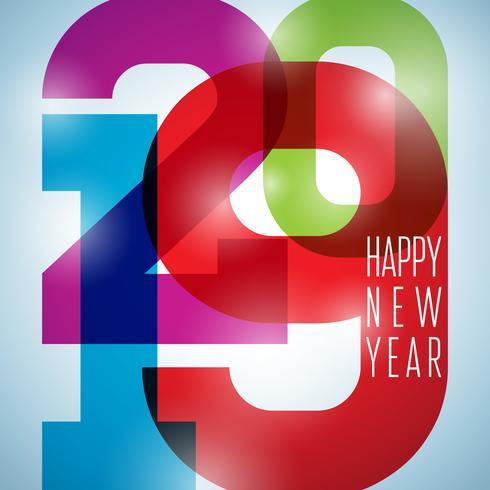 2019 Gelukkig Nieuwjaar illustratie met dalende confetti vector