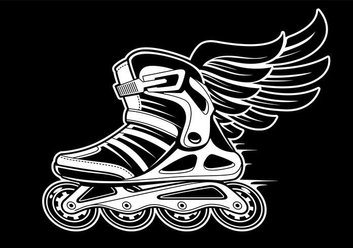 Inline rolschaats met vleugel vector