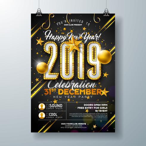 2019 Nieuwjaarsviering Poster vector