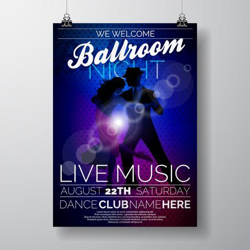 Ballroom Night Party Flyer ontwerp vector