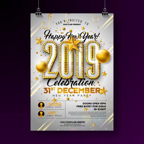 2019 Nieuwjaarsfeest Poster vector