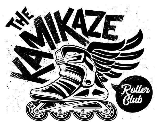 kamikaze rollende club grunge ontwerp vector