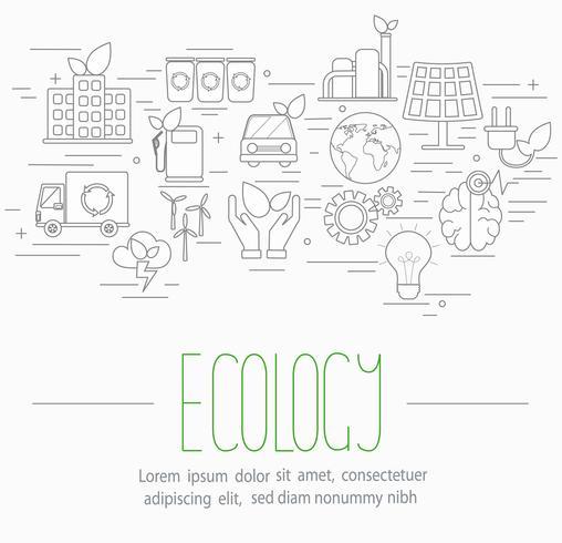 ecologie symbolen instellen vector