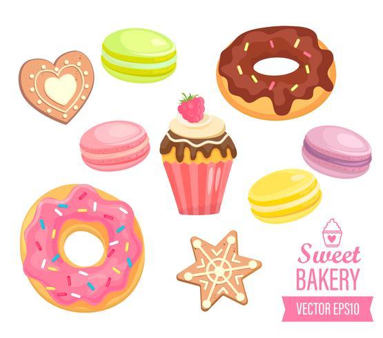 Verzameling van geïsoleerde snoepjes op witte achtergrond. vector