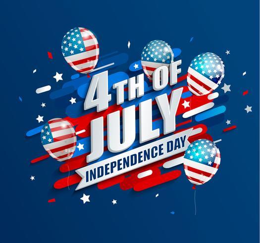 Banner met ballonnen voor de dag van de onafhankelijkheid. vector