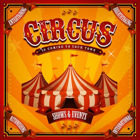 Vintage circusaffiche met grote bovenkant vector