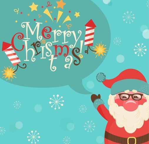 Kerstman en bel met letters. vector