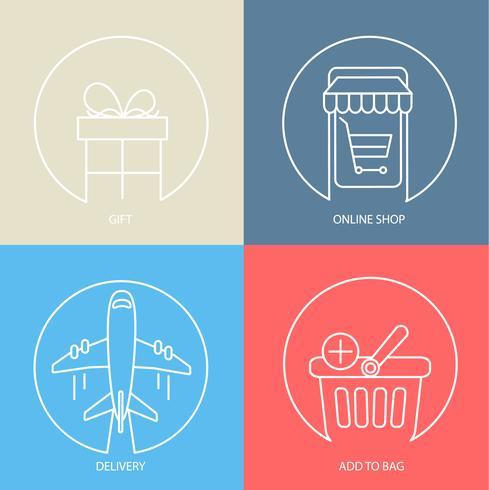 Overzicht e-commerce web icon set. vector