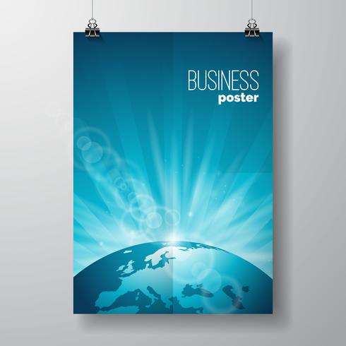 Business Flyer illustratie met globe vector