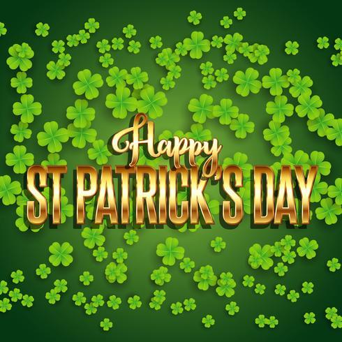 St Patrick's Day achtergrond met klaver en metallic gouden tekst vector