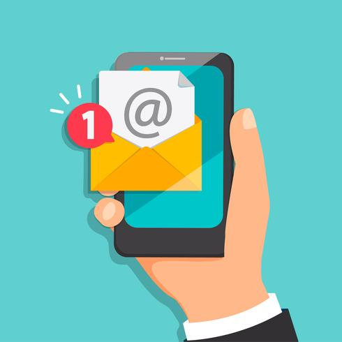 Concept nieuwe brief die aan de e-mail komt. vector