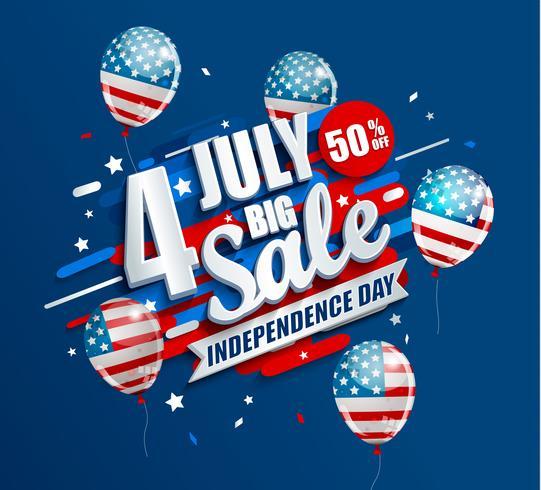 Grote verkoopbanner met ballonnen voor de dag van de onafhankelijkheid vector