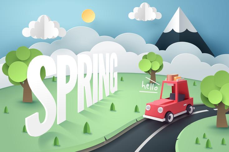 Papier kunst van rode auto landweg en berg met Hello Spring hand belettering vector