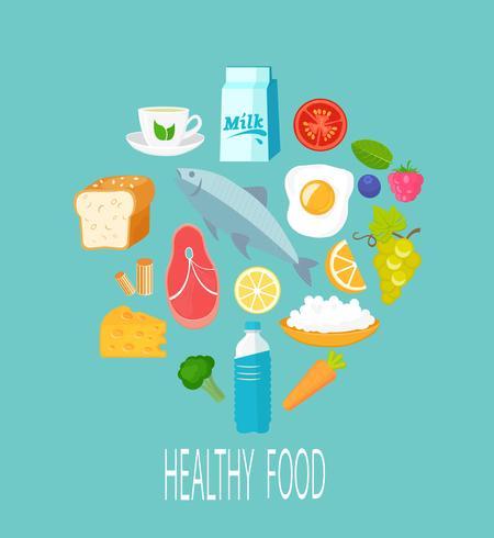 Gezond voedselconcept. vector