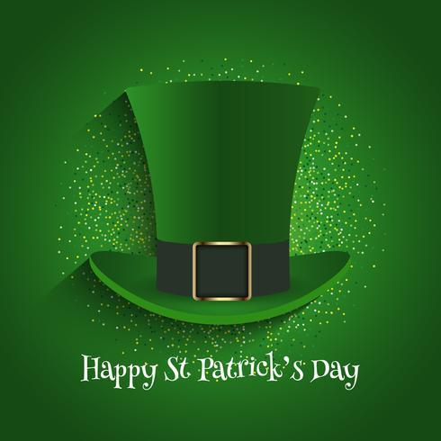 St Patrick's Day achtergrond met hoge hoed en glitter vector