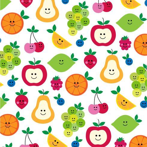 schattig fruit met gezichten patroon op wit vector