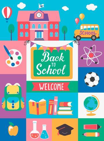 Welkom terug op school. vector
