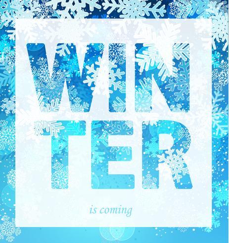 De winter komt uit de print-slogan. vector