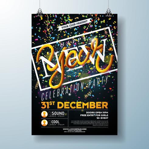 Gelukkig Nieuwjaar partij viering Flyer vector