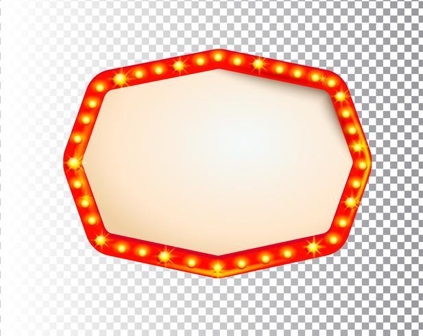 Lichtend geïsoleerd retro bol licht kader vector