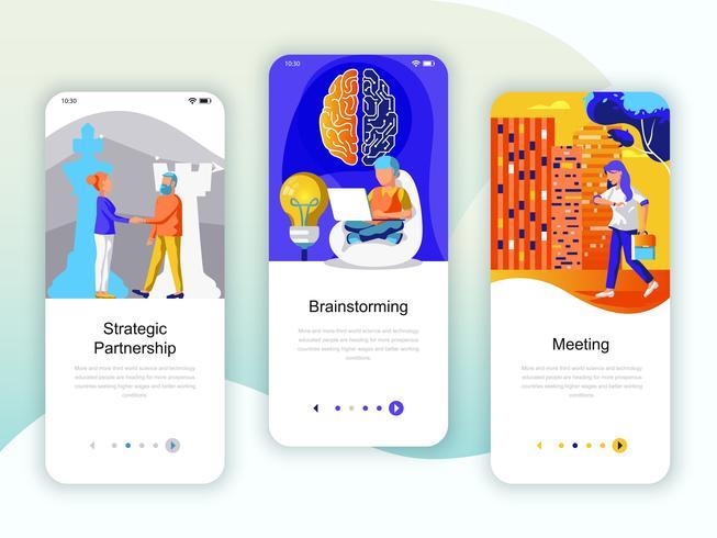 Set onboarding schermen gebruikersinterfaceset voor Partnership, Brainstorming vector