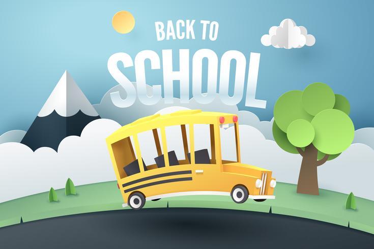 De kunst van het document van schoolbus die op landweg loopt, terug naar schoolconcept vector