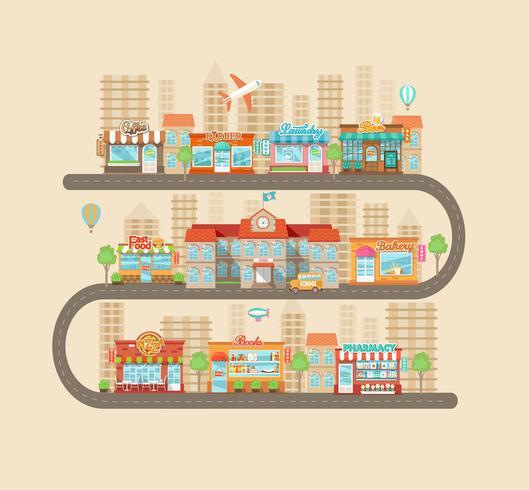Stedelijk landschap en stadsleven. vector