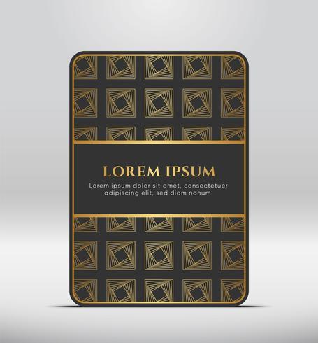 Elegant premium uiterlijk. Donkergrijze kaartvorm met gouden patroon. Vector illustratie.