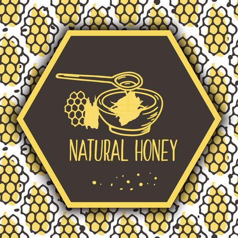 Vector natuurlijke honingbanners. Bio hand getrokken set.
