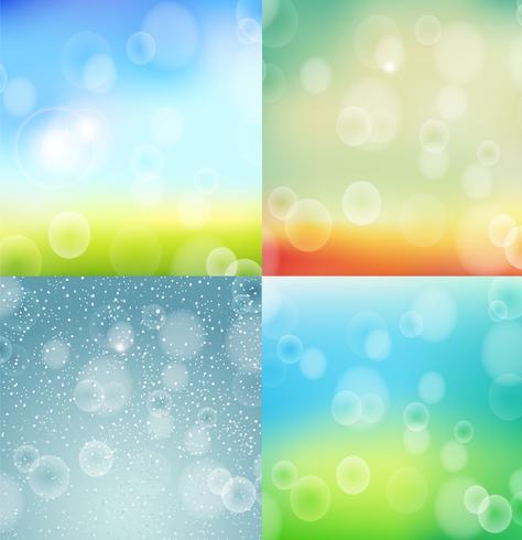 Winter, lente, zomer en herfst bokeh achtergrond. vector