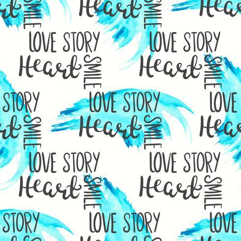 Romantisch citaat naadloos patroon. Love tekstprint voor valentijn dag. Hand belettering typografie ontwerp vector