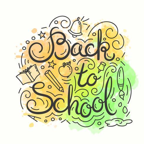 Terug naar schoolkaart. Aquarel achtergrond. Vectorillustratie met belettering. vector