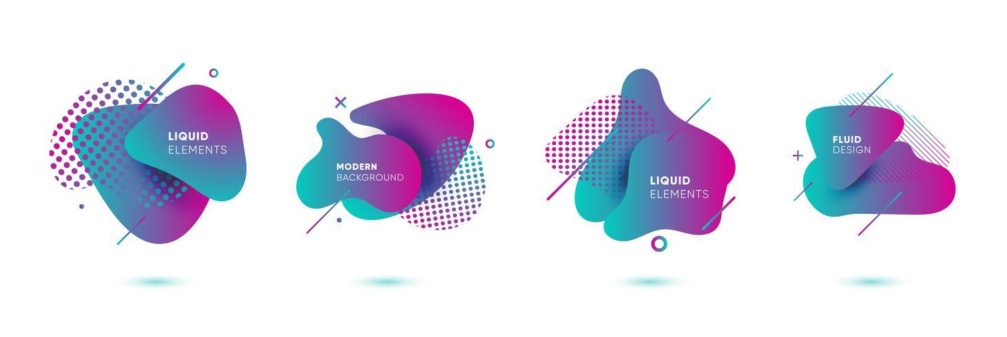 Gradiënt abstracte banners met vloeiende vloeibare vormen vector