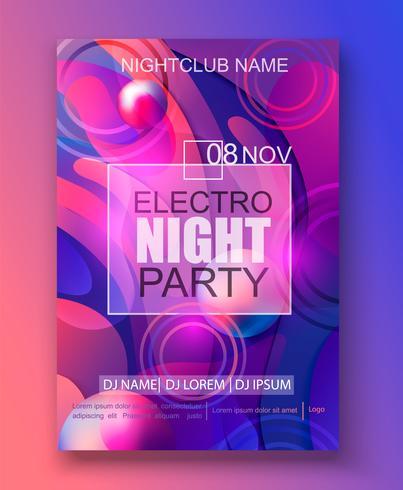 Flyer of banner naar de electro night party. vector
