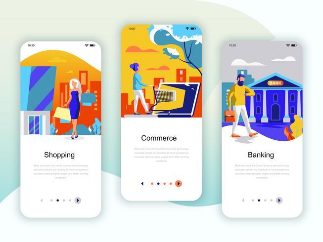 Set onboarding-schermen gebruikersinterfaceset voor winkelen, e-commerce vector