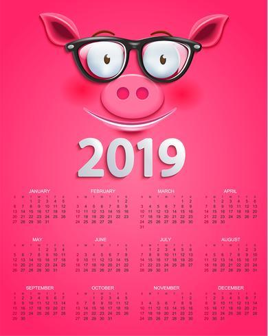 Leuke kalender voor 2019 jaar met slim varkensgezicht vector