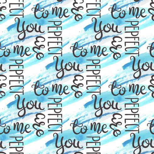 Romantisch citaat naadloos patroon. Liefdetekst voor valentijnskaartdag. Wenskaart ontwerp. Waterverfachtergrond op wit wordt geïsoleerd dat. vector