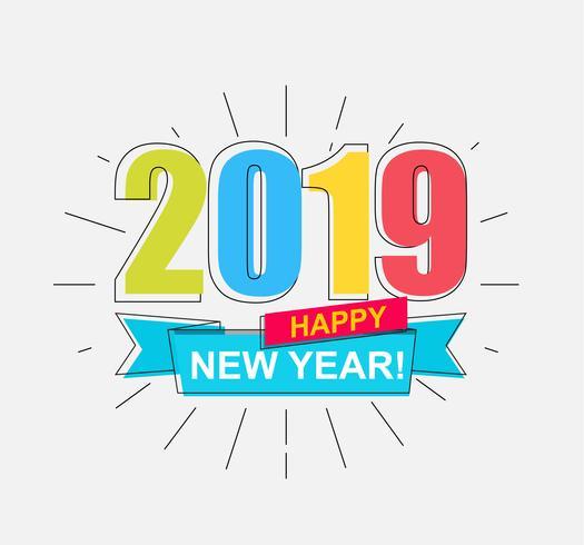 2019 Gelukkig nieuwjaarskaart. vector