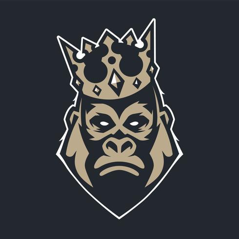 Gorilla in Crown mascotte vector pictogram