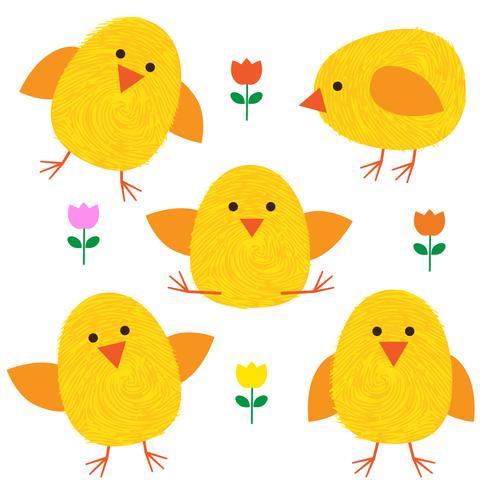 Thumbprint Easter Chicks en bloemen vector
