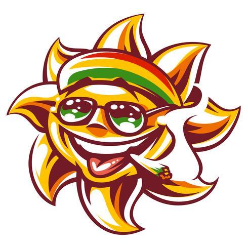 Vector Rasta Sun met Spliff