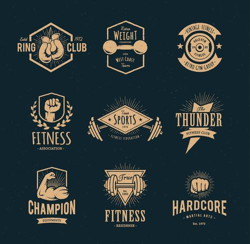 Retro fitness-emblemen vector