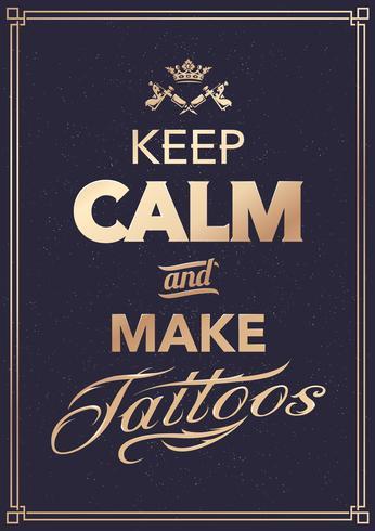 Maak tattoo typografie vector
