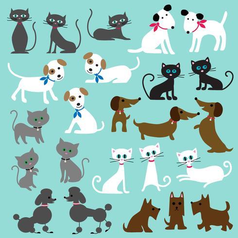 katten en honden clipart vector